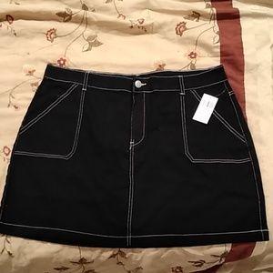 Black Utility Mini Skirt